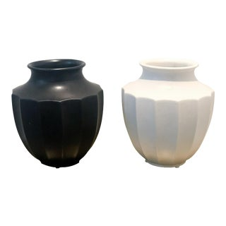 Mid Century Ceramic Black and White Urns - a Pair For Sale