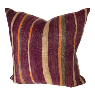 Custom Pillow Cut From a Vintage Hand Loomed Wool Moroccan Berber Textile For Sale