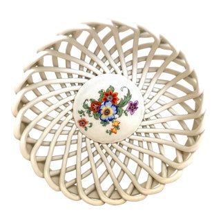 1930s Italian Ceramic Lattice Bowl For Sale