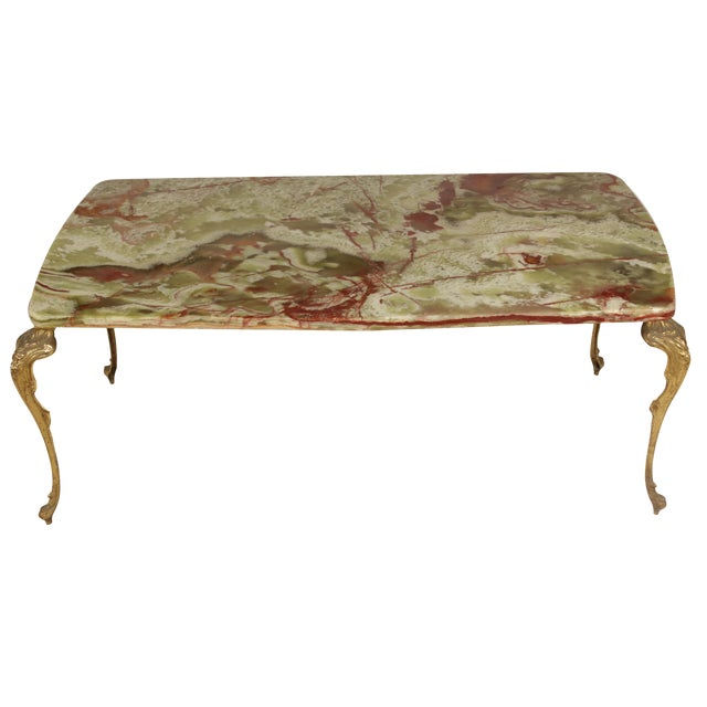French Rococo Coffee Table: French Rococo-Style Onyx Cocktail Table