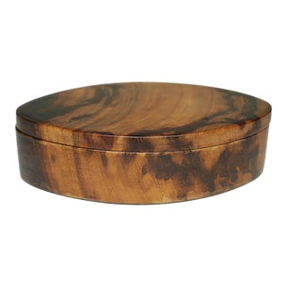 Vintage Koa Wood Oval Tinket Box With Suede Lined Interior C. 1960-1980