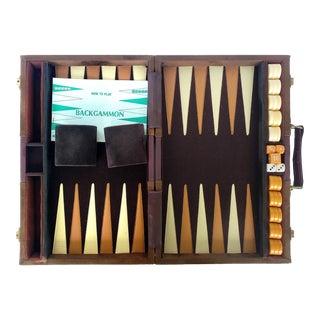 Vintage Suede & Leatherette Travel Backgammon Set in Case For Sale