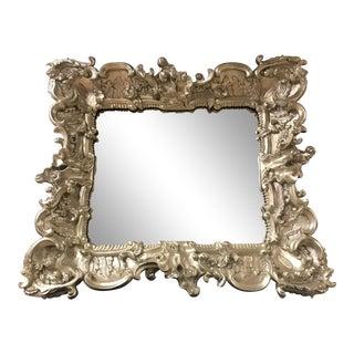 Baroque Silver Brocade Decorative Wall Mirror For Sale