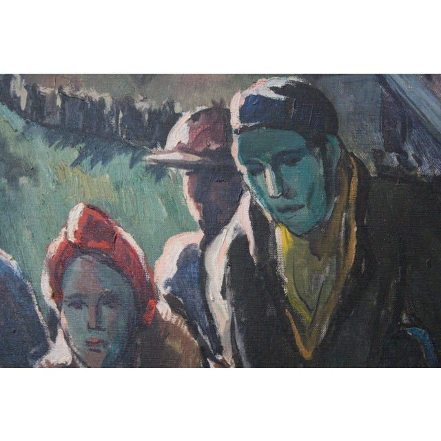 Mid 20th Century Buchholz Industrial Train Scene Painting For Sale - Image 5 of 7