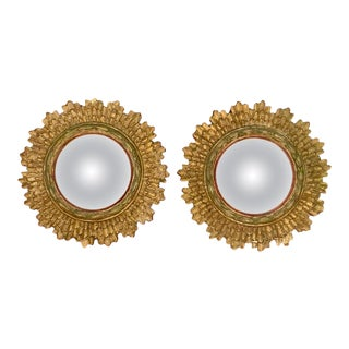 French Hollywood Regency Gilt Wood Sunburst Mirrors, a Pair For Sale
