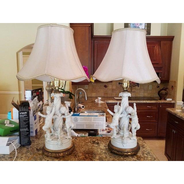1980s Vintage Blanc De Chine Putti Lamps - A Pair For Sale - Image 10 of 10