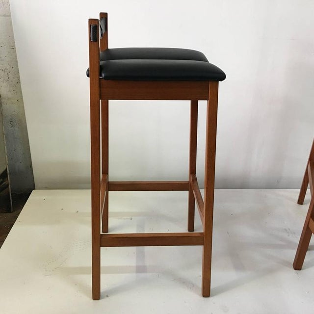 Set of 4 Leather Strap Danish Barstools For Sale In Miami - Image 6 of 7
