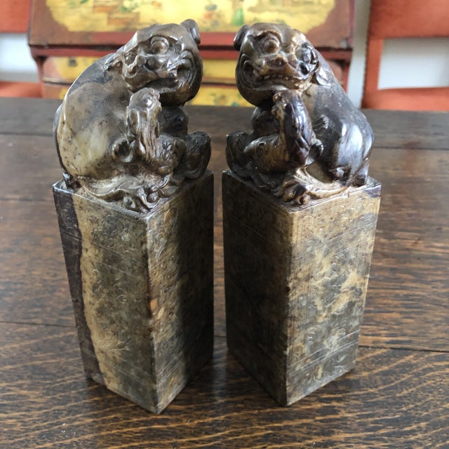Brown 19th Century Hand Carved Brown Shoushan Soapstone Chinese Chop Seals - a Pair For Sale - Image 8 of 13