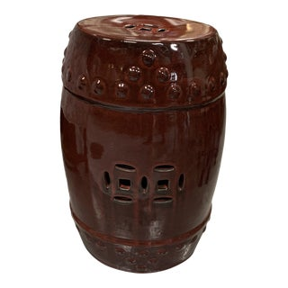 Oxblood Red Asian Chinoiserie Garden Stool Table For Sale