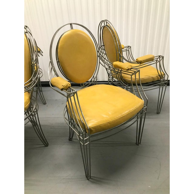 Casamidy Leather and Iron 'Opera' Armchairs - Set of 4 For Sale In Atlanta - Image 6 of 10