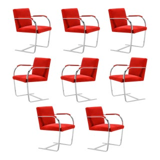 Ludwig Mies van der Rohe Set of Eight Stainless Steel Brno Chairs by Knoll For Sale
