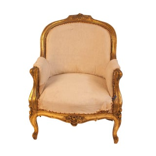 19th Century Swedish Gilt Wood Bergere Chair