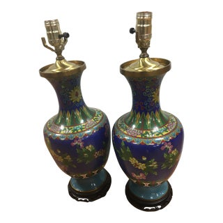 Antique Chinese Cloisonné Lamps - a Pair For Sale
