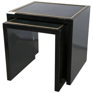 E J Victor Lacquered Nesting Tables - A Pair For Sale