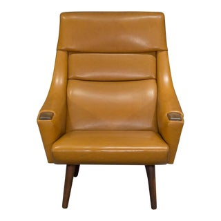 High Back Danish Modern Lounge Chair For Sale