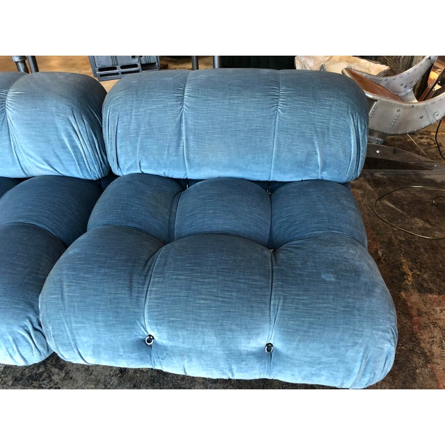 Fabric Mario Bellini Light Blu Original Fabric 'Camaleonda' Modular Sofa For Sale - Image 7 of 10