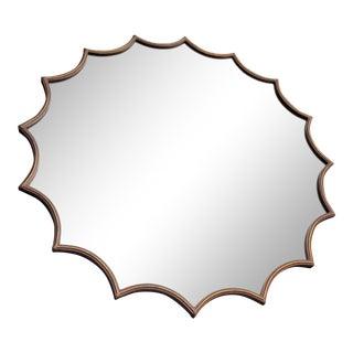 Vintage Mid Century Modern Gilt Bronze Beveled Sunburst Mirror For Sale