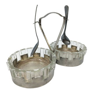 Art Deco Silver Plated Double Candy Dish For Sale