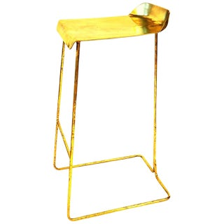 Hand-Sculpted Brass Stool, Misaya For Sale