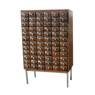 1960s Mid Century Modern Library Card Catalogue Cabinet