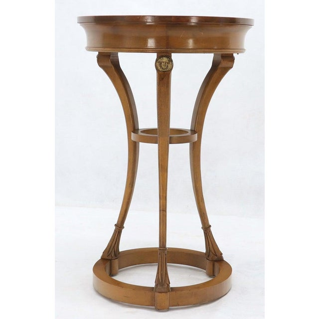 Pair of Tall Round Pedestal Shape Side End Tables on Tri Legged Bases Burl Wood For Sale - Image 11 of 13
