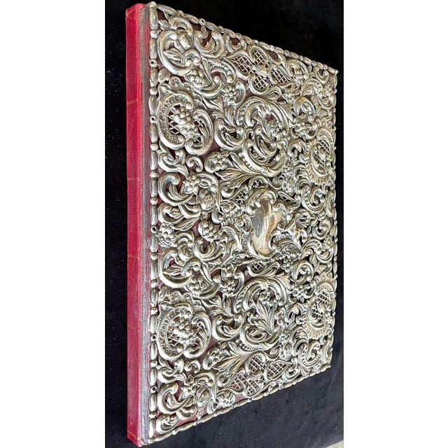 Ornate Sterling Silver Book Cover Photo Scrap Album W Red Leather Interior For Sale - Image 9 of 13