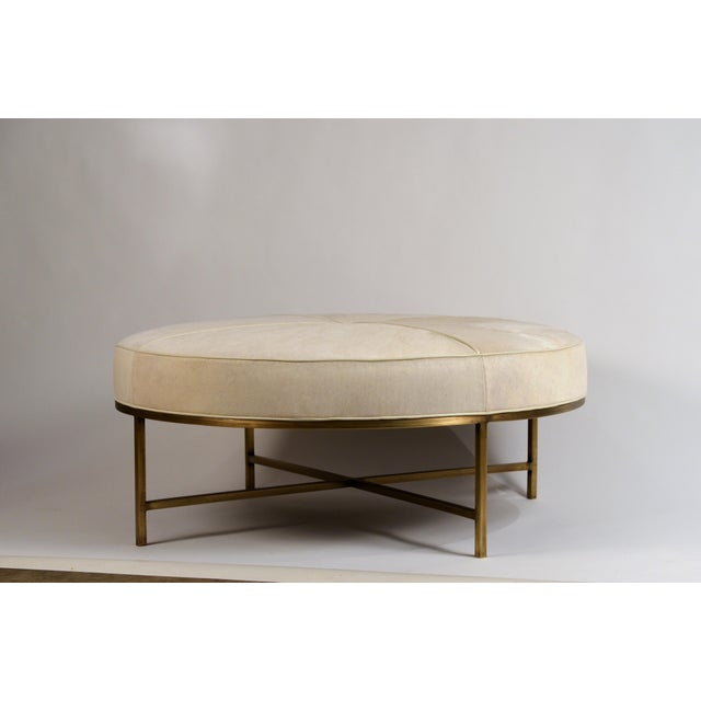 White Hide and Patinated Brass 'Tambour' Ottoman by Design Frères For Sale - Image 9 of 9