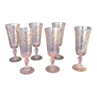 Vintage Cristal D'Arques Pink Swirl Glass Flutes For Sale