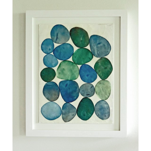 "Gina Cochran ""Bijou in Blue, No 7""Framed Original Encaustic Collage For Sale - Image 5 of 5"