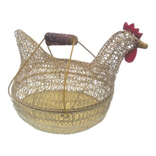 1940s Country Carrying Chicken Shaped Wire Basket For Sale