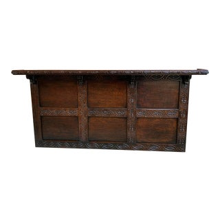 Late 19th Century Antique English Carved Oak Wall Shelf Architectural Panel Mantel Hanging Decor For Sale