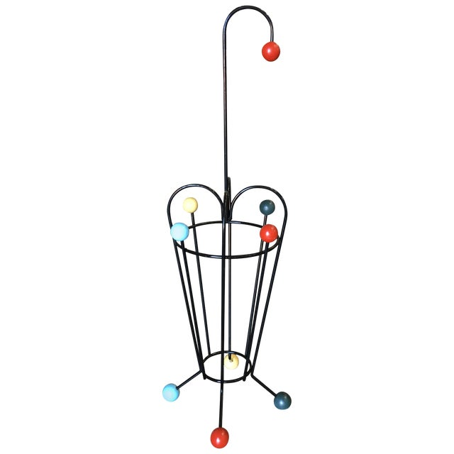 George Nelson Inspired Iron Wire Umbrella Stand For Sale