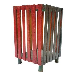 Vintage Folk Art Painted Wood Waste Basket