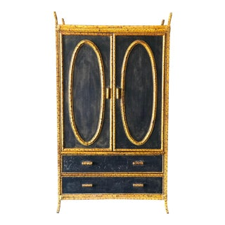 Antique British Colonial Grass Cloth and Burnt Bamboo Wardrobe/Chest For Sale