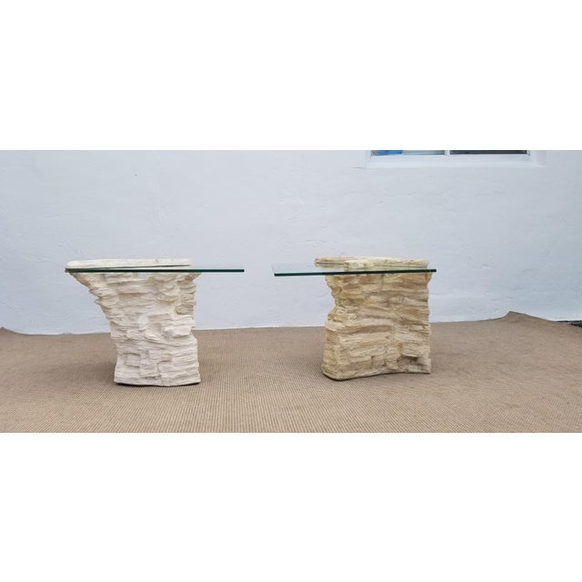 Sirmos Faux Rock Plaster Side Tables - a Pair For Sale - Image 4 of 13