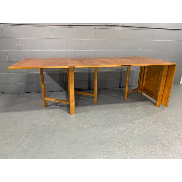 Danish Modern Flamed Birch Maria Folding Dining Table by Bruno Mathsson for Karl Mathsson For Sale - Image 3 of 13