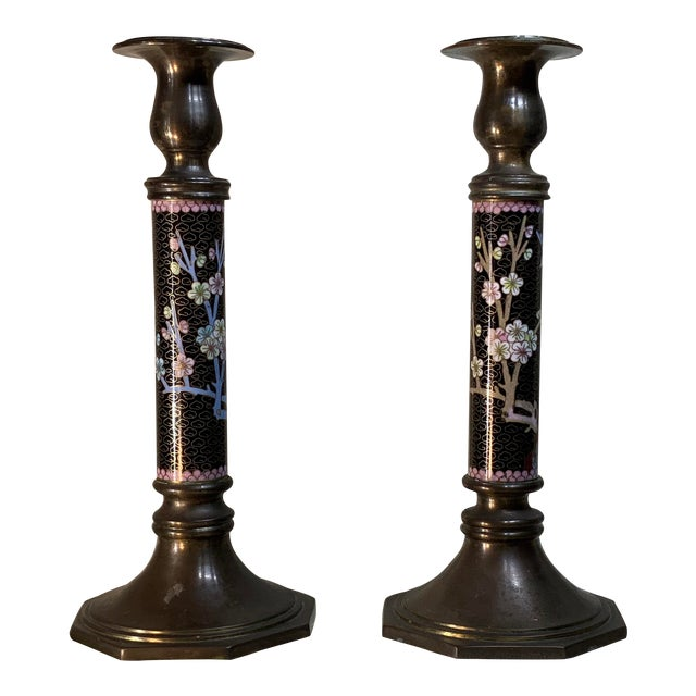 1940s Chinese Cloisonné Candleholders - a Pair For Sale