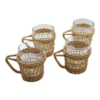 Mid-Century Beachside Glasses With Woven Wicker Handled Covers - Set of 4 For Sale