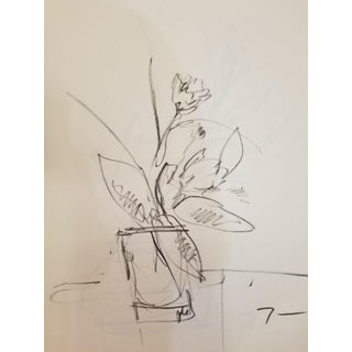 Contemporary Minimalist Floral Botanical Bouquet Charcoal Drawing For Sale