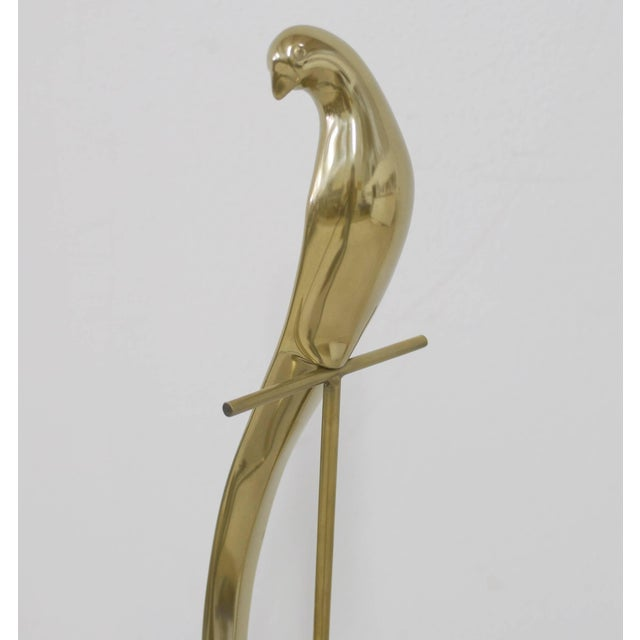 Jere Brass Bird Table Sculpture of Parrot on Perch Mounted on Marble Base For Sale In Palm Springs - Image 6 of 11