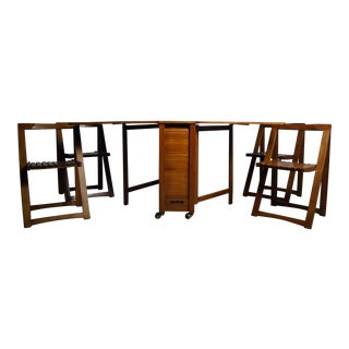 Danish Modern Drop Leaf Hide Away Table & Chairs- 5 Pieces For Sale