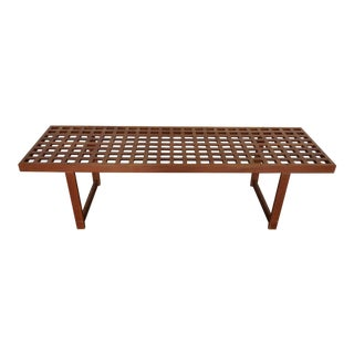 1970's Danish Modern Teak Long Bench For Sale
