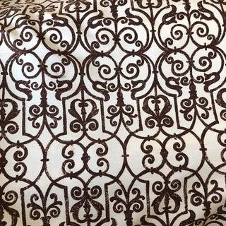 Tyler Hall Esplanade Cream & Brown Fabric For Sale