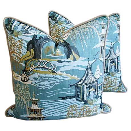 Designer Chinoiserie Asian Toile Pillows - Pair - Image 1 of 7