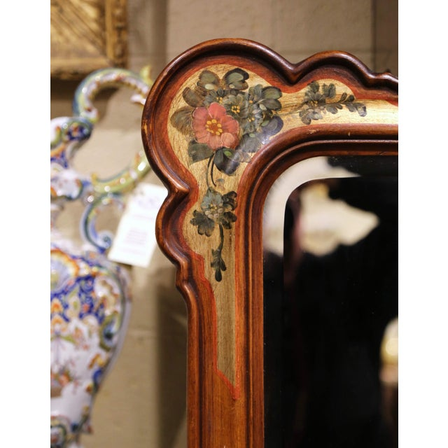 Late 20th Century Midcentury Italian Carved Hand Painted Wall Mirror With Floral Decor For Sale - Image 5 of 8