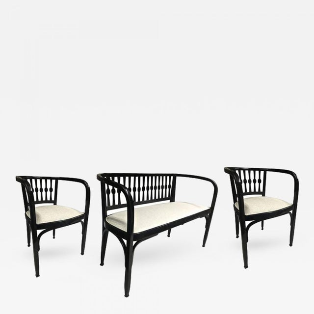 Fabric Thonet Austrian Secession Set of One Couch and Two Chairs in Bentwood For Sale - Image 7 of 7