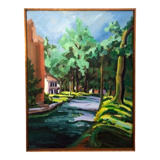 Colorful Mid Century Street Scene For Sale