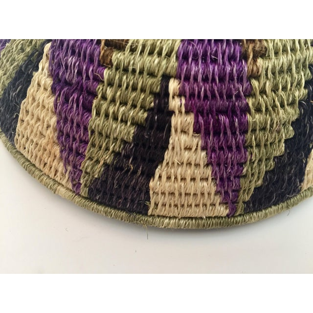 Boho Chic Native American Polychrome Seagrass and Silk Woven Basket For Sale - Image 3 of 12