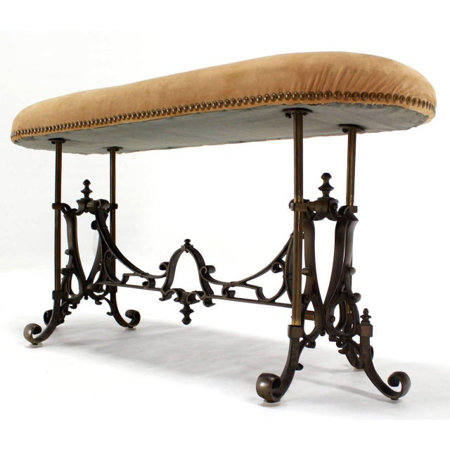 Metal Heavy Cast Bronze Antique Piano or Hall Bench For Sale - Image 7 of 10