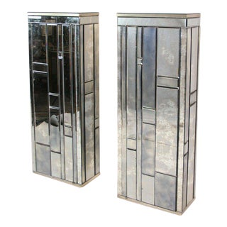 Beveled Mirror Side Cabinets - A Pair For Sale